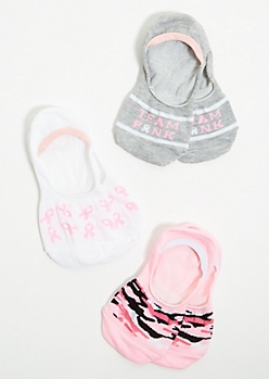 3-Pack Pink Hope Ribbon Shoe Liner Sock Set