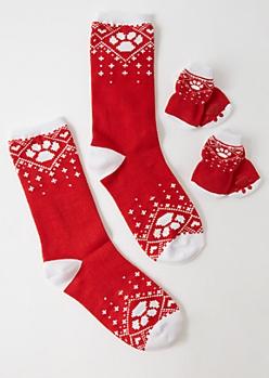 2-Pack Red Paw Fair Isle Print Pet Sock Set