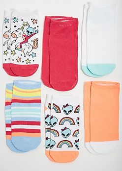 6-Pack Alien Unicorn Print Ankle Sock Set