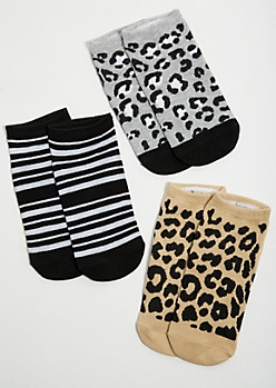 3-Pack Leopard Print Ankle Sock Set