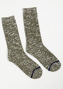 Mottled Olive Boot Socks