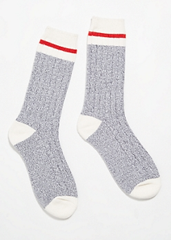 Gray Striped Boot Socks