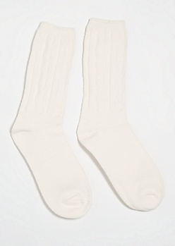 Cream Cable Knit Boot Socks