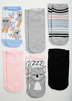 6-Pack Pastel Koala Print Ankle Sock Set