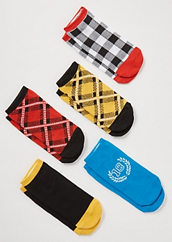 5-Pack Plaid Print Colorblock Low Cut Sock Set