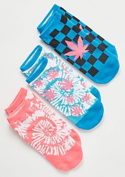 3-Pack Tie Dye Weed Print Low Cut Sock Set