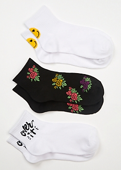 3-Pack Print Ankle Sock Set