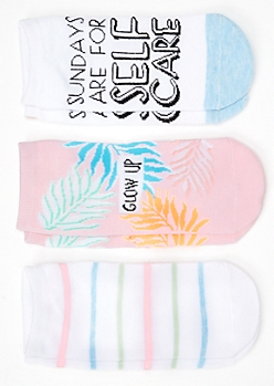 3-Pack Pastel Self Care Glow Up Ankle Sock Set