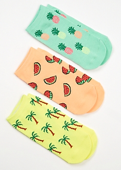 3-Pack Tropical Print Low Cut Sock Set