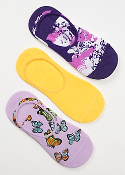 3-Pack Tie Dye Butterfly Shoe Liner Sock Set