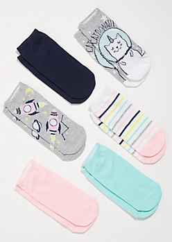 6-Pack Gray Space Cat Striped Ankle Sock Set