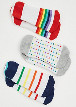 3-Pack Rainbow Striped Dotted Shoe Liner Sock Set