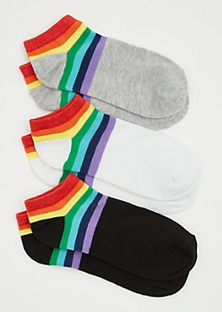 3-Pack Rainbow Striped Ankle Socks