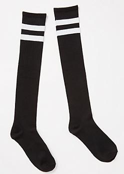 Black White Striped Knee High Socks