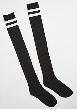 Back Varsity Striped Knee High Socks
