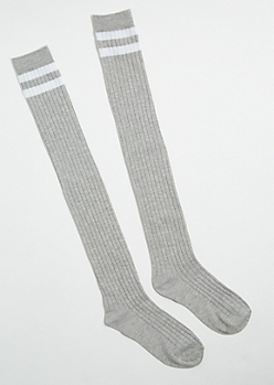 Heather Gray Varsity Striped Knee High Socks