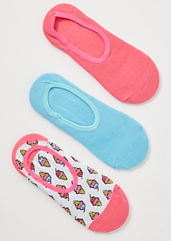 3-Pack White Colorblock Ice Cream Shoe Liner Set