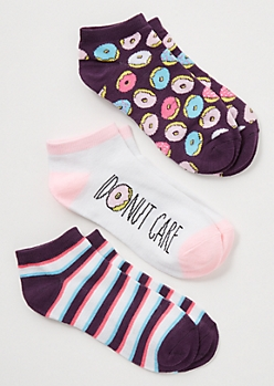3-Pack Purple Colorblock Donut Low Cut Sock Set
