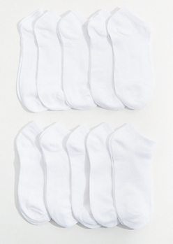 10-Pack White Ankle Sock Set