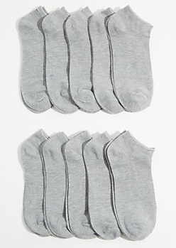 10-Pack Heather Gray Ankle Sock Set