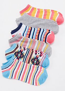 6-Pack Ikat Print Ankle Socks