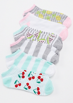 6-Pack Fruit Print Ankle Socks