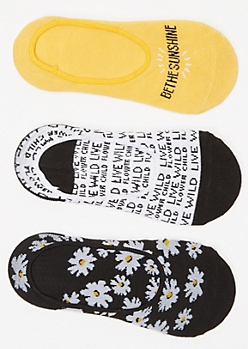 3-Pack Daisy Shoe Liner Sock Set