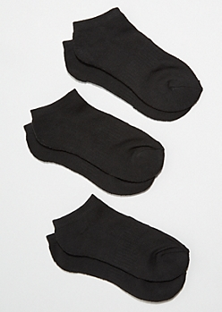 3-Pack Black Ankle Sock Set