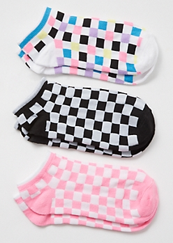 3-Pack Pink Checkered Print Low Cut Sock Set