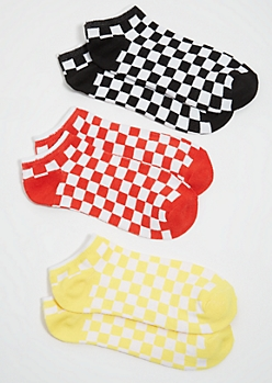 3-Pack Checkered Print Colorblock Ankle Sock Set