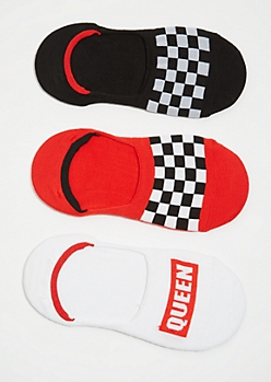 3-Pack Checkered Print Queen Shoe Liner Sock Set