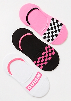 3-Pack Pink Checkered Print Queen Liner Sock Set