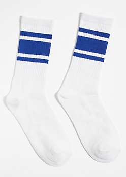 White Striped Blue Colorblock Crew Socks