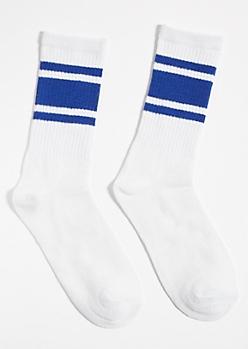 White Striped Blue Colorblock Crew Socks