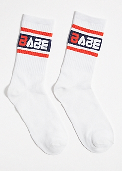 White Striped Babe Colorblock Crew Socks