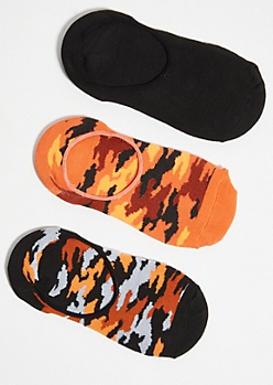 3-Pack Orange Camo Print Shoe Liners