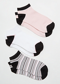 3-Pack Pink Striped Colorblock Ankle Sock Set