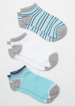 3-Pack Teal Striped Colorblock Ankle Sock Set