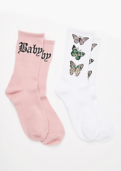 2-Pack Butterfly Print Crew Sock Set