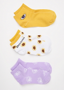 3-Pack Sunflower Ankle Sock Set