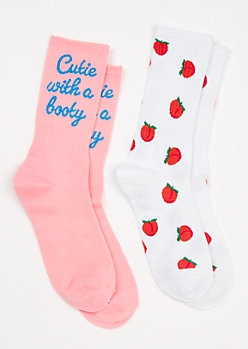 2-Pack Peach Crew Sock Set