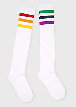 Rainbow Striped Knee Socks