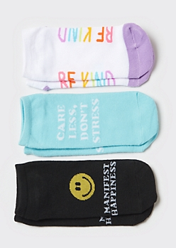 3-Pack Be Kind Smiley Low Cut Sock Set