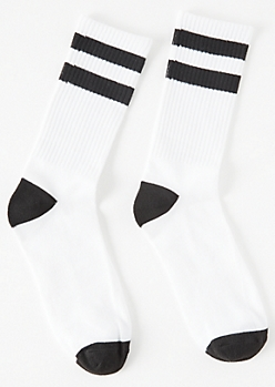 White Black Striped Crew Socks