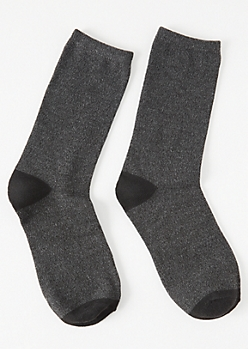 Charcoal Gray Colorblock Crew Socks