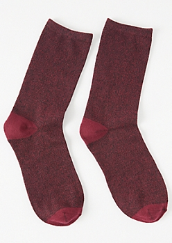 Burgundy Colorblock Crew Socks