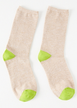 Sand Colorblock Crew Socks