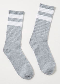 Gray White Striped Crew Socks