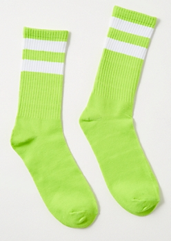 Green White Striped Crew Socks