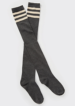 Gray Varsity Striped Over The Knee Socks